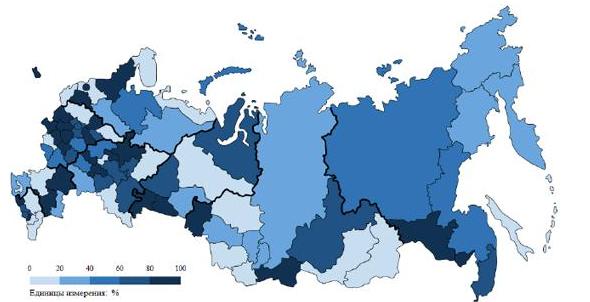 Рисунок 1 - Доля загрязнённых сточных вод в общем объёме водоотведения в поверхностные водные объекты в 2013 г.